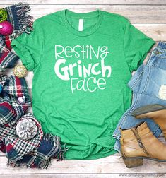 Resting Grinch Face Shirt with Free SVG Cut File - Holiday Shirts - Ideas of Holiday Shirts - Resting Grinch Face Shirt with Free SVG Cut File Grinch Shirts, Xmas Shirts, Vinyl Shirts, Cute Shirts, Funny Shirts, Funny Christmas Shirts, Winter Shirts, Christmas Vinyl, Grinch Christmas