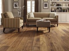 Wide plank laminate... Love this color or darker. Love the natural colors of the furniture too Oak Laminate Flooring, Dark Flooring, Floors, Mohawk Home, Luxury Vinyl Plank, Barn Wood, New Homes, Collection, Lighting