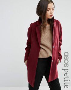 Immagine 1 diASOS PETITE Boyfriend Coat in Cocoon Fit