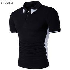 FFXZSJ 2018 alta qualidade verão moda masculina casual simples estilo  europeu preto e branco lapela manga 5ea4e8f69aece