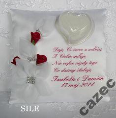 Poduszka na obrączki imiona sentencja SILE W-w