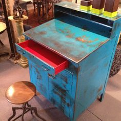 industrial foreman's desk. Love the patina and rusty blue look of this piece!