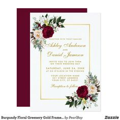 Shop Burgundy Floral Frame Greenery Calligraphy Wedding Invitation created by BellaRosePaperie. Personalize it with photos & text or purchase as is! Framed Wedding Invitations, Wedding Invitations Elegant Modern, Burgundy Wedding Invitations, Gold Invitations, Watercolor Wedding Invitations, Floral Invitation, Invitation Cards, Elegant Wedding, Invites