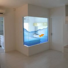 I would work this into the design somewhere. This is so different and the color is great Fancy - Aquarium Window Film Smart Home Design, Faux Window, Bright Walls, Window Films, Blog Deco, Window Stickers, Stained Glass Art, Stores, Aquarium Fish
