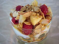 White peach and raspberry parfait!  For breakfast or as dessert.