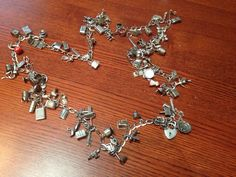 Vintage Antique Sterling Charm Bracelet Huge Necklace RARE 925 Deco 100 3D Moves   eBay