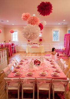 Love The Big Pom Poms For A Little Girls Birthday Party!