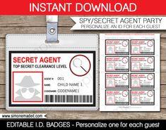 Secret Agent Badge Spy Birthday Party Printable von SIMONEmadeit