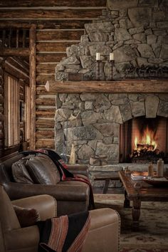 Stone fireplace Fireplace Ideas, Fireplace Design, Rustic Fireplaces, Stone Fireplaces, Modern Fireplace, Living Room With Fireplace, Living Room Decor, Living Rooms, Decorating Ideas