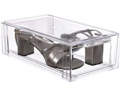 6.25x3.25x12deep $9...Crystal Clear Stackable Storage Drawer - Small is a clear plastic US-made shoe storage system that's modular and expandable.