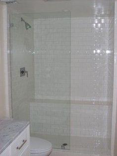 single frameless shower panel no door