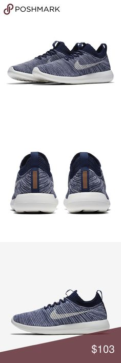 NWB Nike Roshe Two Flyknit V2 Rare Athletic Shoes - Nike Sneakers New With Tag - New With Box Nike Sneakers in Navy Blue Marine color - In pristine perfect condition. Beautiful knit design and color brown/gold bar color at the back.  Rare color!! Nike Shoes Sneakers
