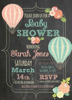 Hot Air Balloon Flower Chalkboard Baby Shower by themilkandcreamco