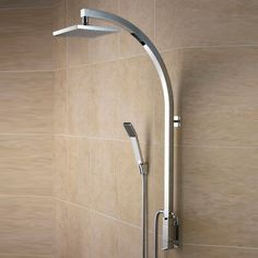Bristan Qube Inline Vertical Shower Pole with Integral Diverter to Handset - Chrome