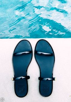 Tory Burch Two-Band Jelly Slide in Tory Navy