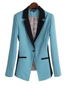 Suit Collar Long Sleeve Color Block Fitted Jacket