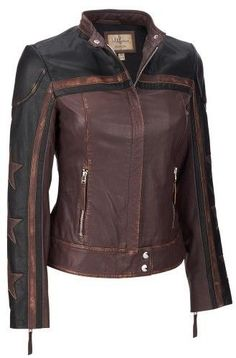 Wilsons Leather Womens Vintage Moto Leather Jacket W/ Star Accents