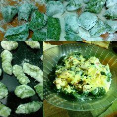 Ñoquis de Acelga y Ricotta 1 atado de acelga 300 grs ricotta 500 grs harina 1 huevo Sal, nuez moscada Salsa parisienne Para 6 platos