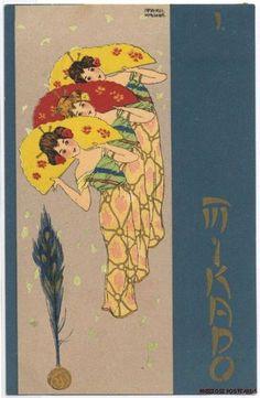 1902 MIKADO - 3 Geishas & Fans - Raphael Kirchner