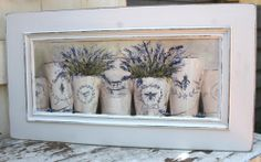 I've painted this one on a rescued timber panel. Featuring French Pots of Lavender