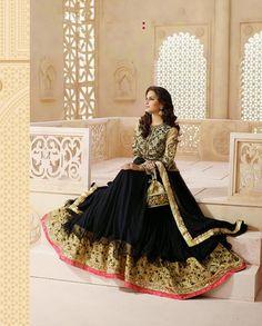 Black floor length anarkali with heavy embellished yoke (Semi-Stitched – Rutbaa India