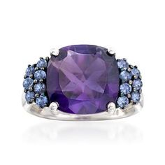 Ross-Simons - 5.50 Carat Amethyst and .40 ct. t.w. Tanzanite Ring in Sterling Silver - #817481