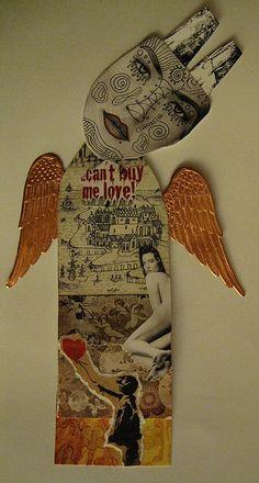 Fallen Angel  mixed Media Collage Art Doll for Altered Art Challenge by peregrine blue, via Flickr