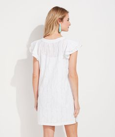 Shop Embroidered Palm Vineyard Tunic Dress at vineyard vines Vinyard Vines, Double Ruffle, Vineyard, Palm, Cover Up, Cold Shoulder Dress, White Dress, Tunic, Shopping