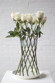 Piccsy :: Crown Vase By Lambert Rainville It Arranges Roses in vase.