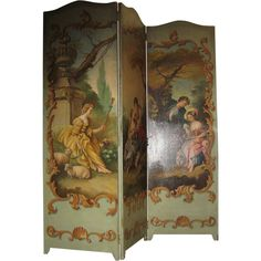 Antique French Toile Romantic 3 panel canvas screen from sondrakruegerantiques on Ruby Lane