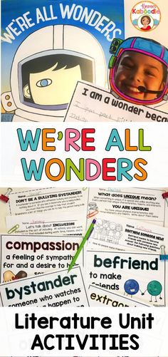 Have you seen this new book, We're All Wonders, by R. The messages about kindness and compassion absolutely CAN'T be beat! If you are looking for no prep, engaging activities for We're All Wonders, look no further! This product incl Teaching Reading, Teaching Kids, Teaching Resources, Wonder Novel, Vocabulary Cards, Book Study, Readers Workshop, Beginning Of School, School Counseling
