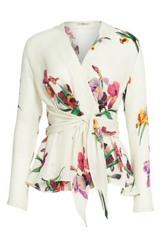 Main Image - Etro Floral & Bird Print Silk Wrap Blouse