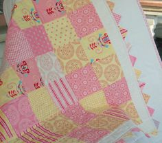 SALE  Pink Lemonade Baby Quilt   Patchwork by HappyLittleCottage, $100.00