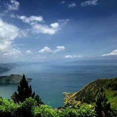 Beautiful view of Toba Lake from Taman Simalem Resort, Tongging, North Sumatera , Indonesia ..Lake Toba (Indonesian: Danau Toba)