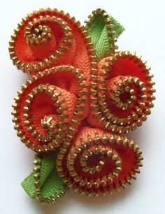 Orange Abstract Floral Brooch / Zipper Pin Brass Teeth by ZipPinning 2974 by ZipPinning on Etsy