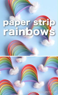 These paper strip rainbows are SO CUTE and they're really easy to make! This is such a great construction paper craft and a super fun craft for kids in springtime (or any time! These little rainbows Spring Crafts For Kids, Paper Crafts For Kids, Craft Activities For Kids, Summer Crafts, Preschool Crafts, Diy For Kids, Easy Crafts, Arts And Crafts, Craft Ideas For Girls