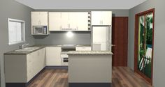 L-shaped kitchen with island bench