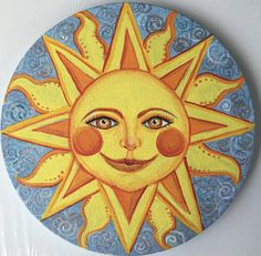 sun face round canvas painting acrylic sun painting