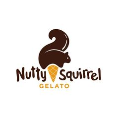 Beautiful Logo - Nutty Squirrel Gelato - Great play on the squirrel looking like ice cream! simple and quirky design <3 #funlogos