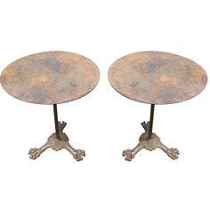 Image of French Art Nouveau Lion Foot Bistro Tables - Pair