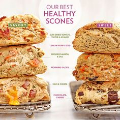 The Difference Between Biscuits and Scones, Plus 6 Healthy Recipes Healthy, whole-wheat scone recipes for your weekend baking needs. Healthy Scones, Savory Scones, Lemon Scones, Savory Muffins, Whole Wheat Scones Recipe, Breakfast Scones, Savory Breakfast, Gourmet Recipes, Healthy Recipes
