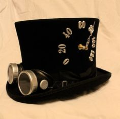 Tick-Tock Top Hat and Steampunk Goggles - working clock and thermometer in a wool top hat - silver. $175.00 USD, via Etsy.