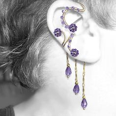 Purple Swarovski crystal wire wrapped ear wrap and ear cuff combo v11, No piercing needed