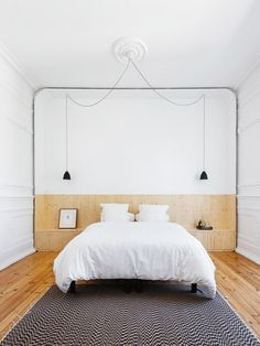Minimalist Black And White Bedroom Via Sfgirlbybay | Natural Wooden Floors  And Headboard | Simple White