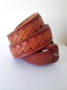 67bdf488d426 Men s Vintage Brown Woven Leather Belt   Size 38-42 Inch Waist   XL    Southwestern   Country Western