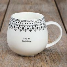 """""""Cup of Gratitude"""" Mugs - This """"Cup of Gratitude"""" Mug is so cute! It features a large handle, simple font and a fun and original border at the rim? making it a sweet gift for friends and family!"""