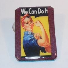 Rosie the Riveter Wood Brooch, Wooden Brooch, Pearlescent Metallic Plum Background, Glazed, Pin, Clasp by OldAgeElegance on Etsy