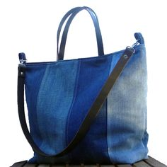 Recycled Denim Tote Beach Bag, Farmers Market Tote