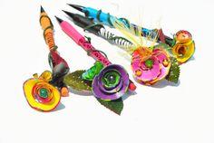 Rainbow Flower Pencils With Pencil Shaving by GinasCornerCrafts, $19.50