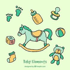 Hand drawn baby elements Free Vector